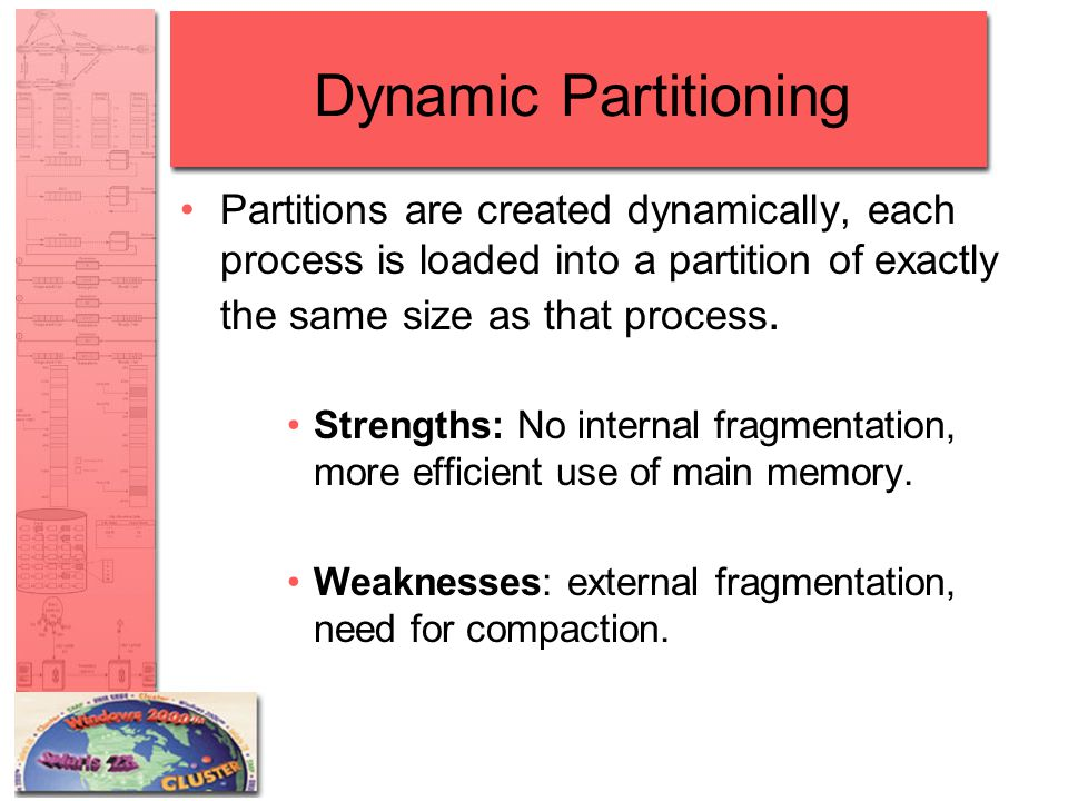 Dynamic Partitioning Partitions are created dynamically, each process is loaded into a partition of exactly the same size as that process.
