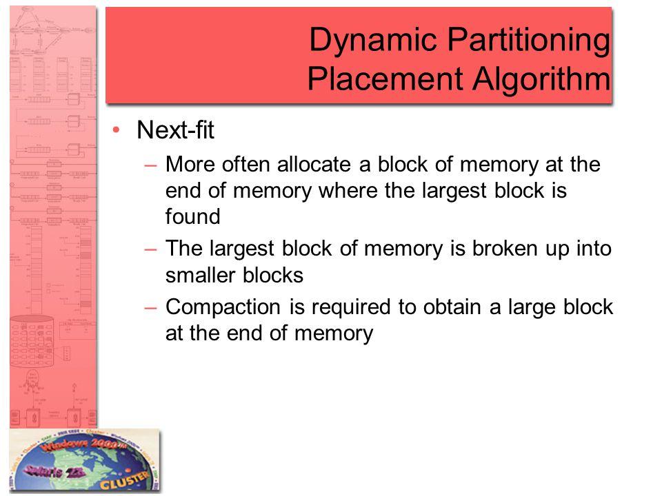 Dynamic Partitioning Placement Algorithm