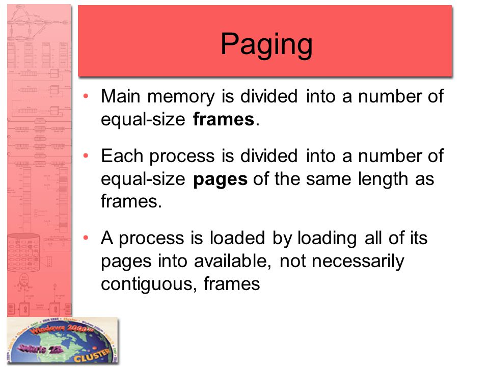 Paging Main memory is divided into a number of equal-size frames.