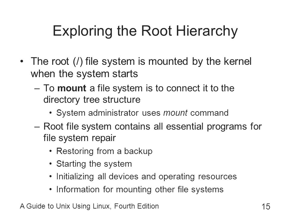Exploring the Root Hierarchy