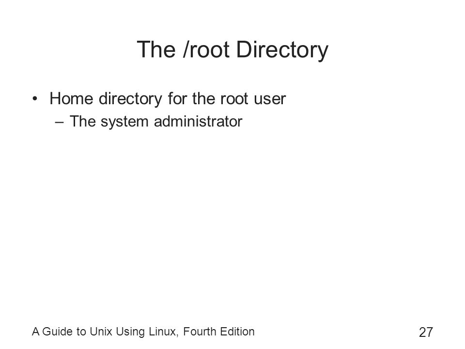 The /root Directory Home directory for the root user