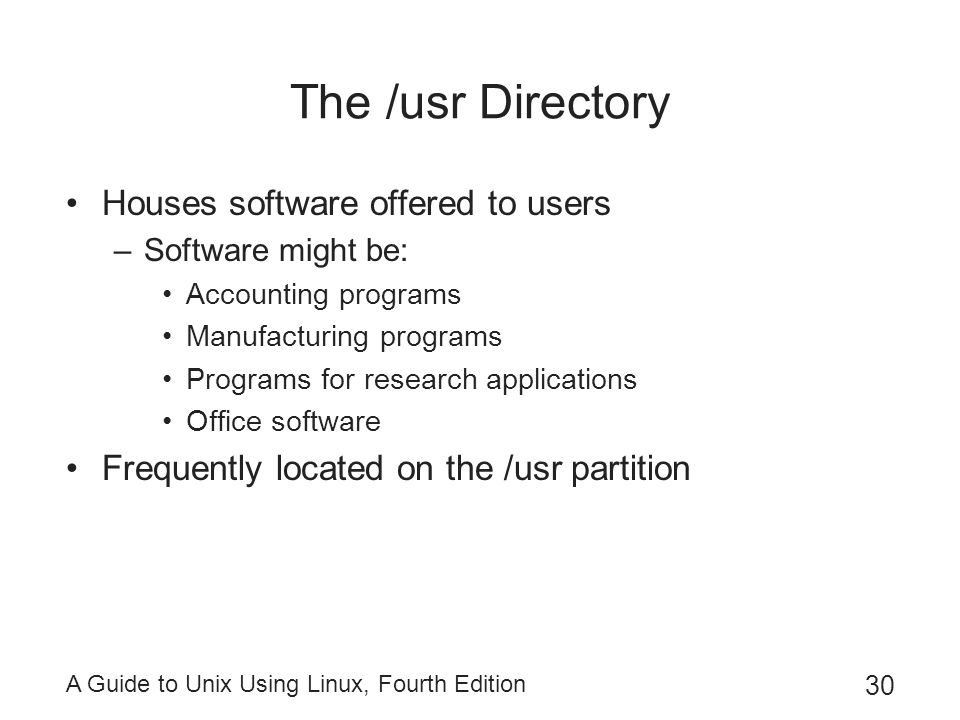 The /usr Directory Houses software offered to users