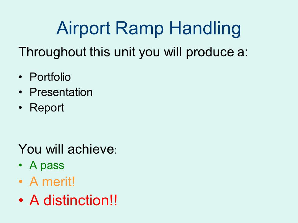 Airport Ramp Handling A distinction!!