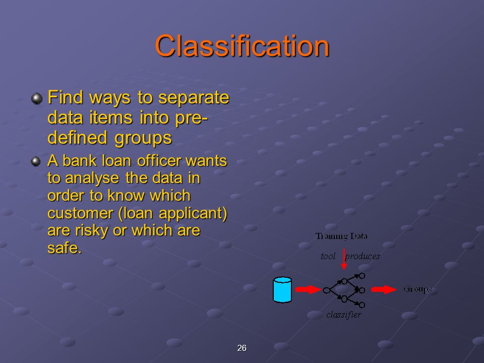 Classification Find ways to separate data items into pre-defined groups.