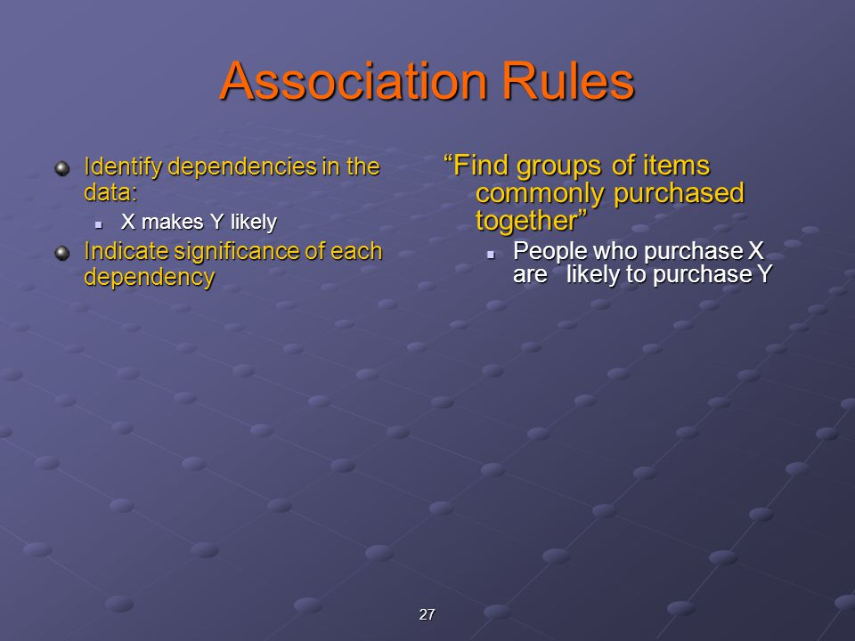 Association Rules Find groups of items commonly purchased together