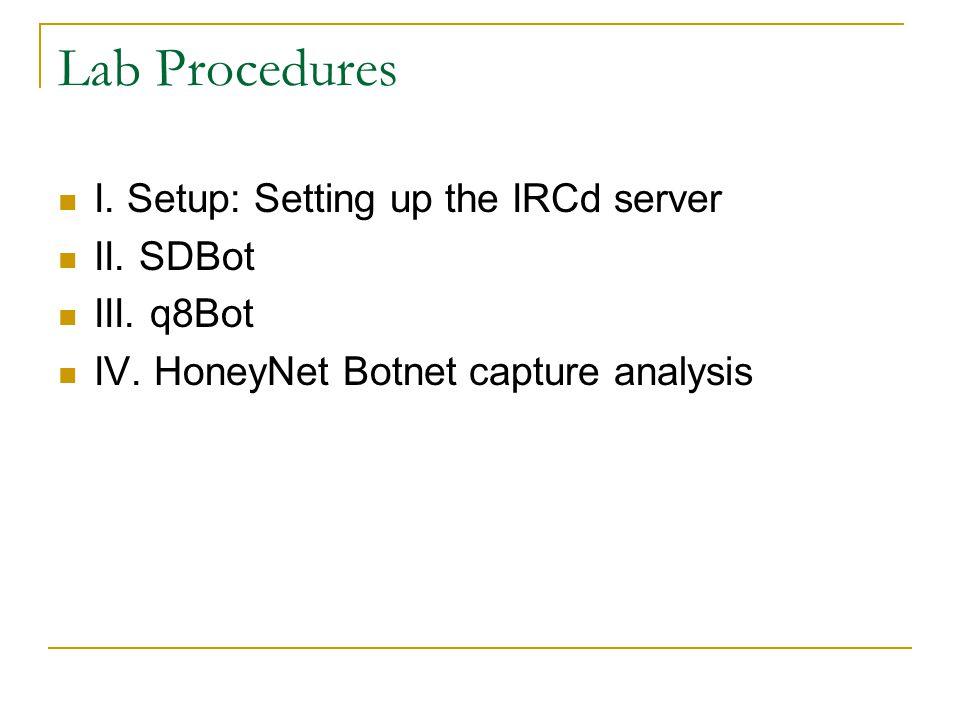 Lab Procedures I. Setup: Setting up the IRCd server II. SDBot