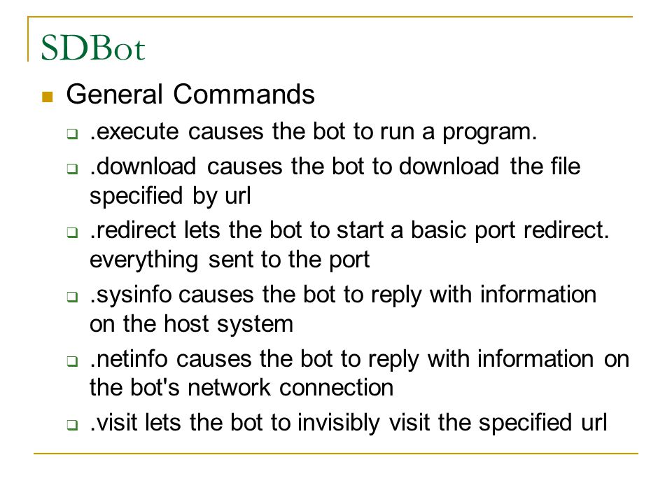 SDBot General Commands .execute causes the bot to run a program.