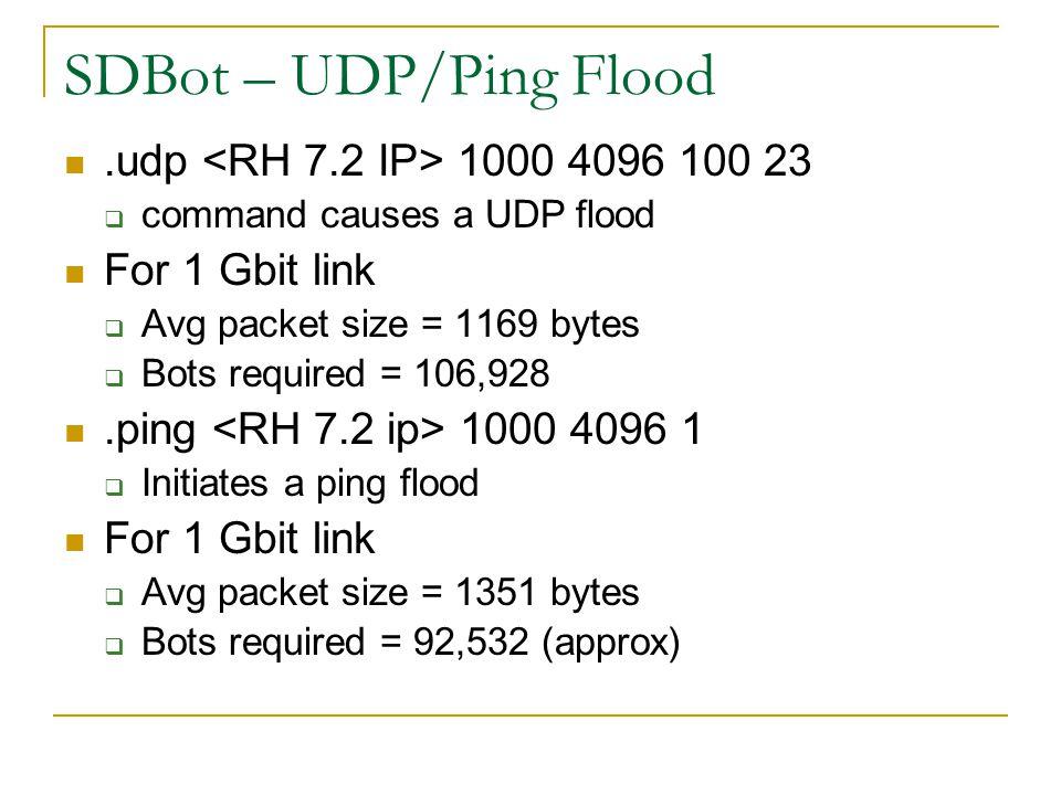 SDBot – UDP/Ping Flood .udp <RH 7.2 IP> 1000 4096 100 23