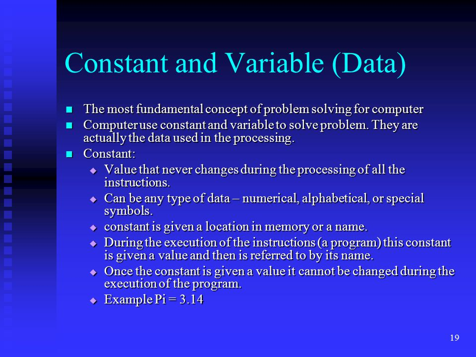 Constant and Variable (Data)