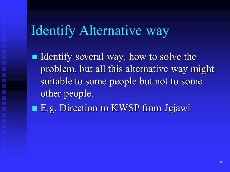 Identify Alternative way