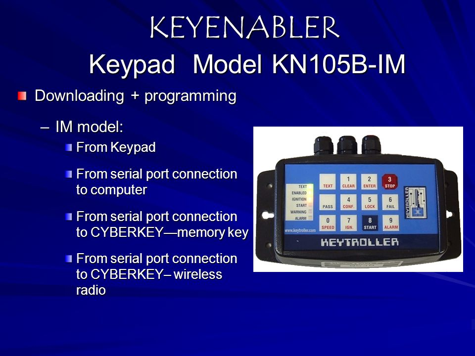 KEYENABLER Keypad Model KN105B-IM