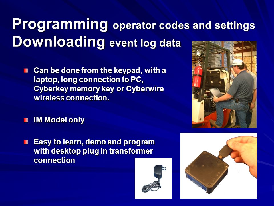 Programming operator codes and settings Downloading event log data