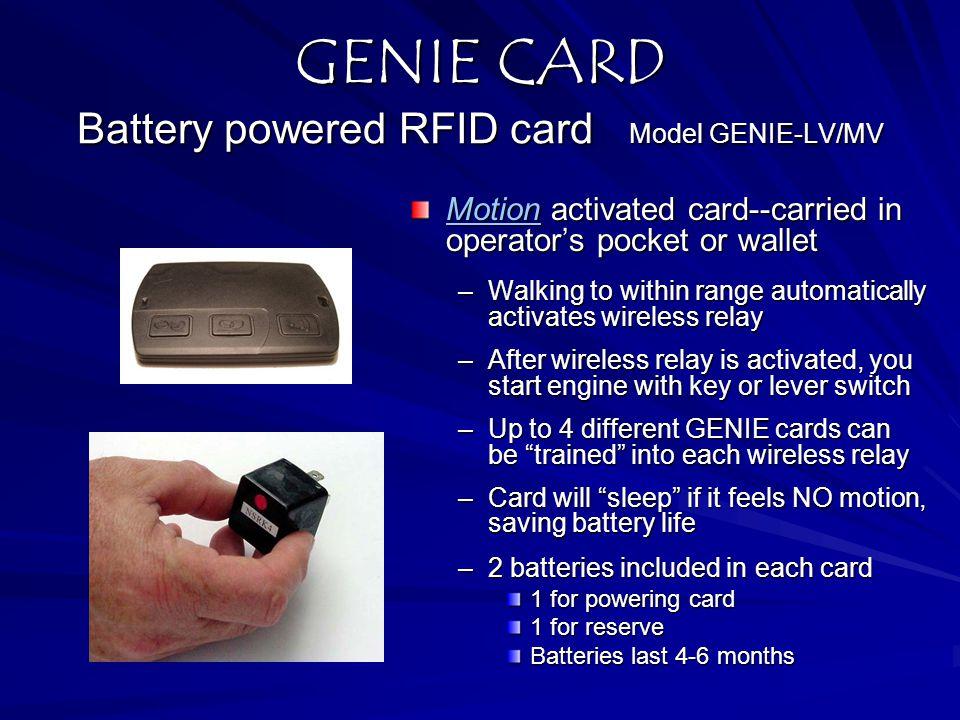 GENIE CARD Battery powered RFID card Model GENIE-LV/MV