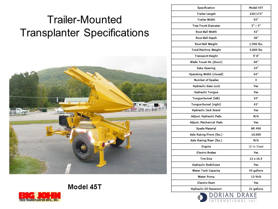 Trailer-Mounted Transplanter Specifications
