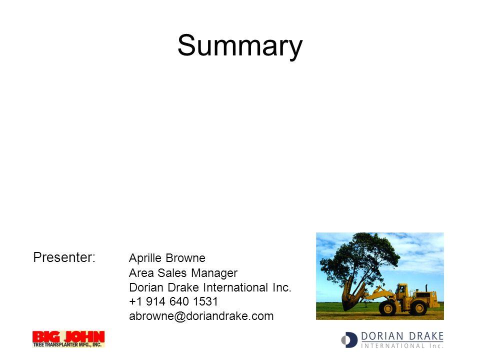 Summary Presenter: Aprille Browne Area Sales Manager Dorian Drake International Inc.