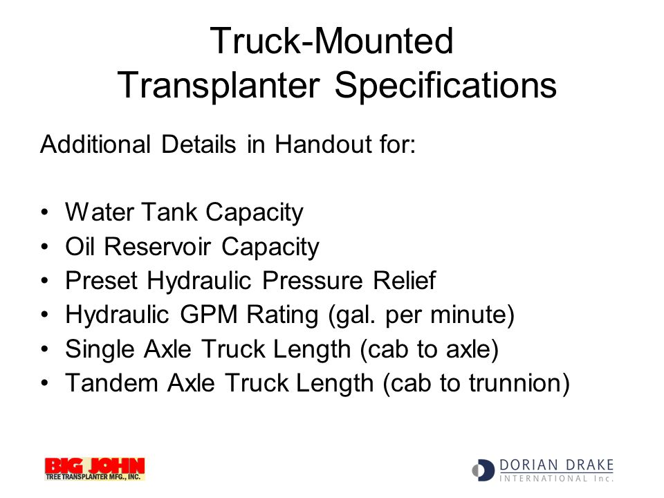 Truck-Mounted Transplanter Specifications