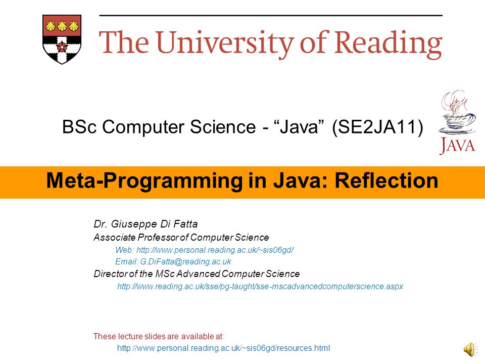 BSc Computer Science - Java (SE2JA11) Meta-Programming in Java: Reflection