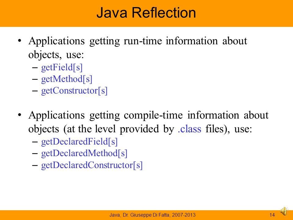 Java, Dr. Giuseppe Di Fatta, 2007-2013