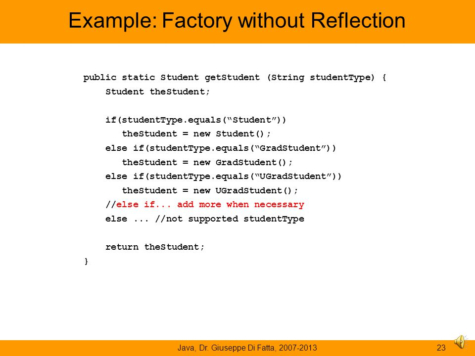 Example: Factory without Reflection