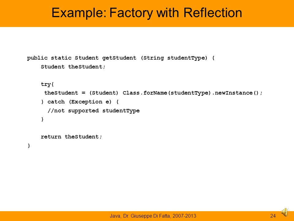 Example: Factory with Reflection
