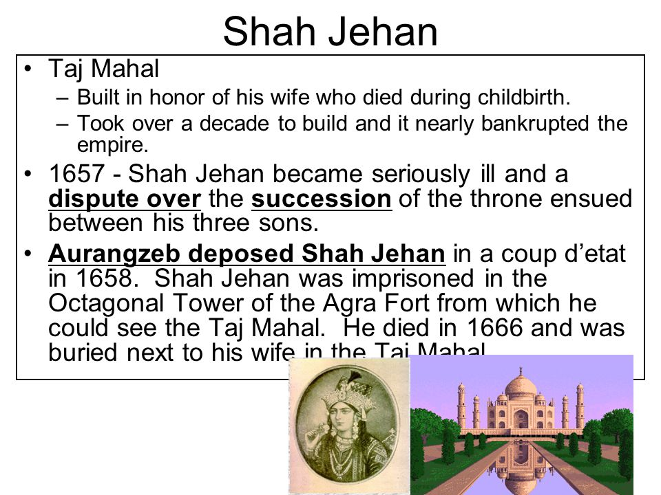 Shah Jehan Taj Mahal. Built in honor of his wife who died during childbirth. Took over a decade to build and it nearly bankrupted the empire.