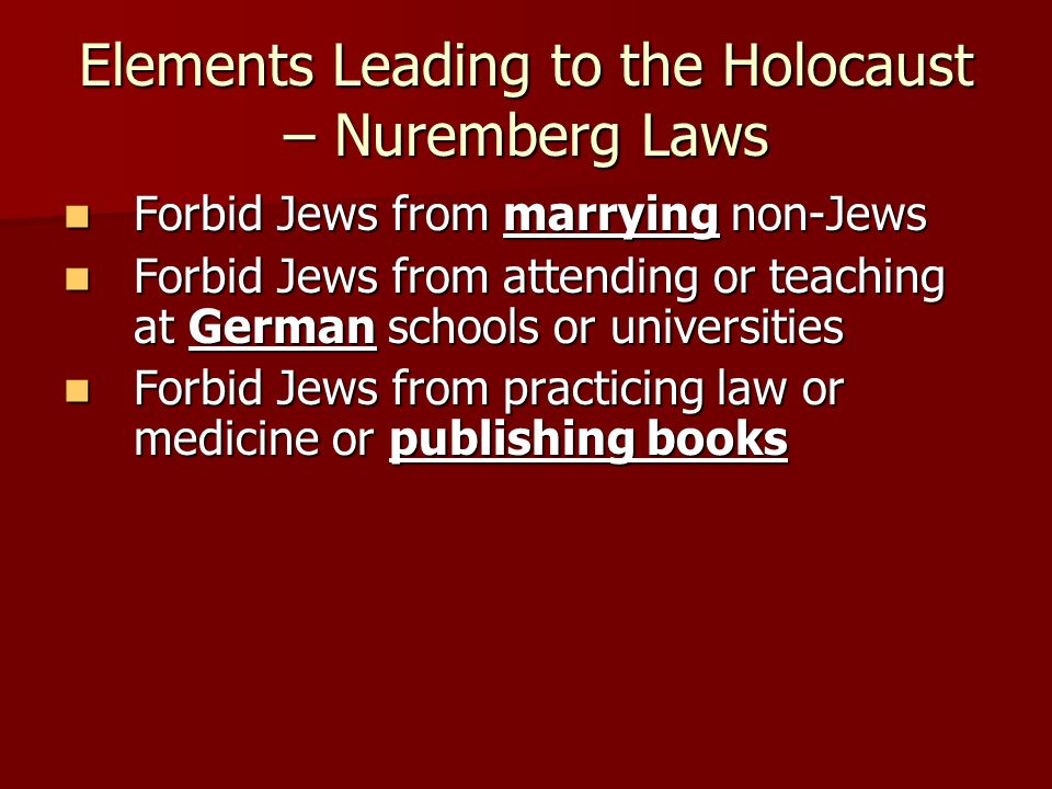 Elements Leading to the Holocaust – Nuremberg Laws