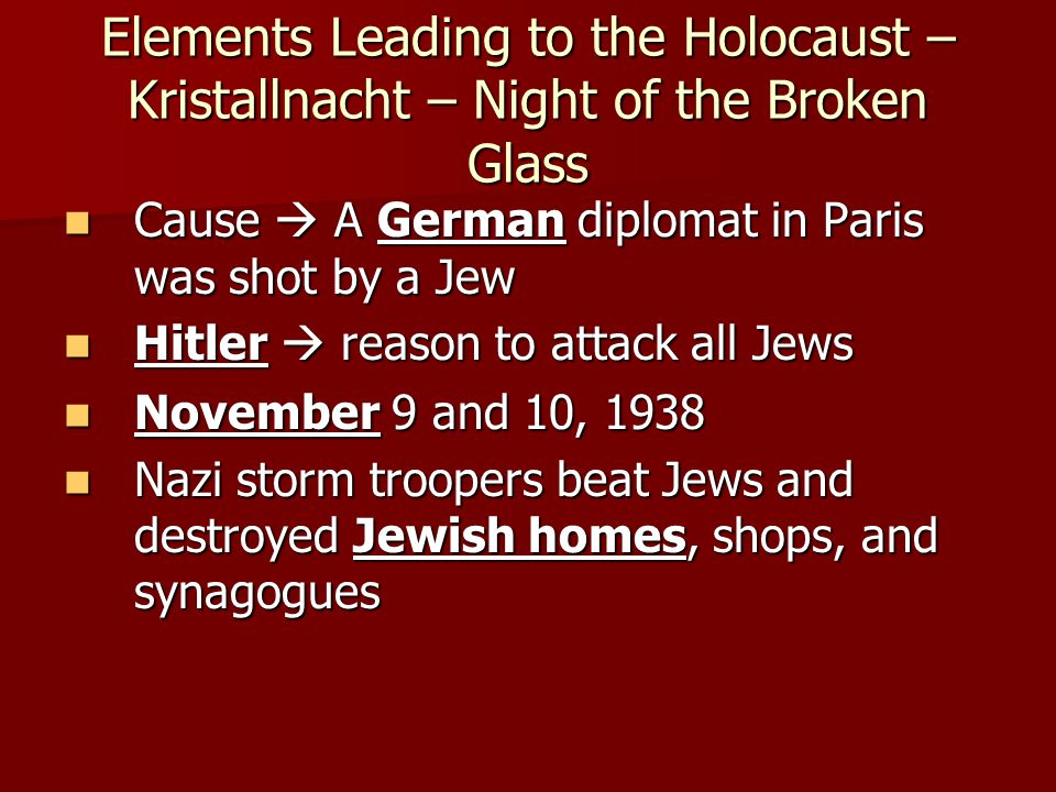 Elements Leading to the Holocaust – Kristallnacht – Night of the Broken Glass