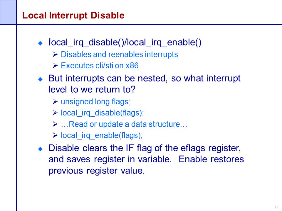 Local Interrupt Disable