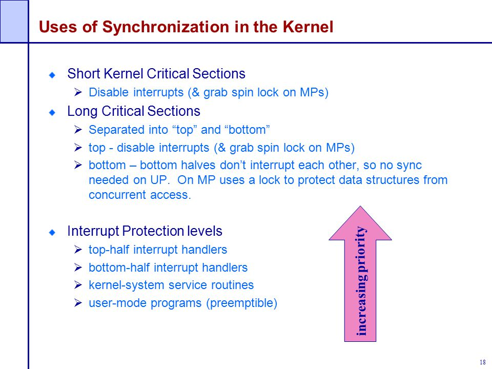Uses of Synchronization in the Kernel