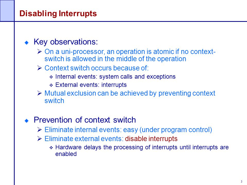 Prevention of context switch