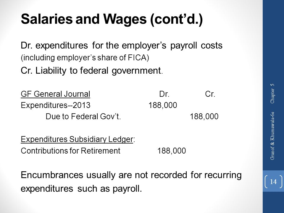 Salaries and Wages (cont'd.)