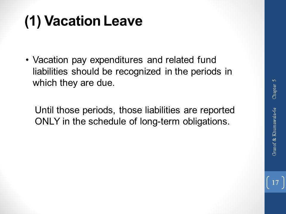 (1) Vacation Leave Vacation pay expenditures and related fund liabilities should be recognized in the periods in which they are due.