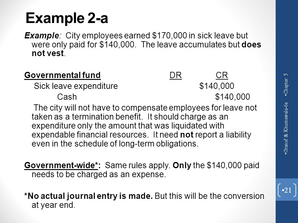 Example 2-a Example: City employees earned $170,000 in sick leave but were only paid for $140,000. The leave accumulates but does not vest.
