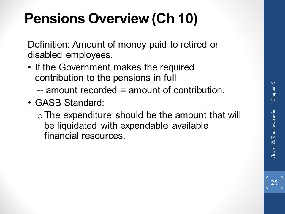 Pensions Overview (Ch 10)
