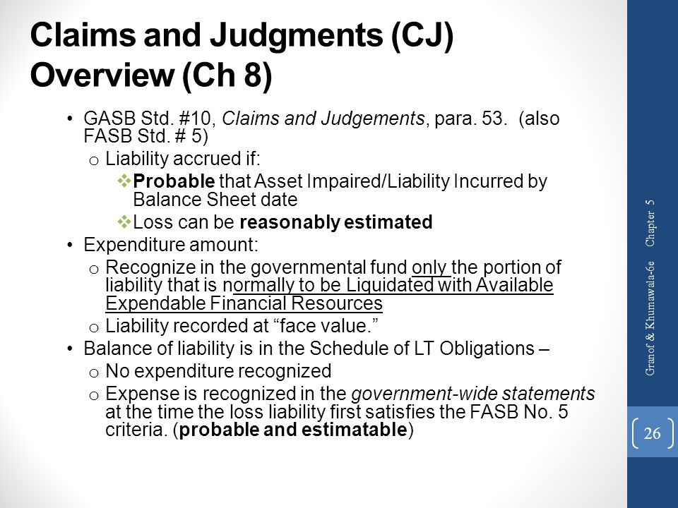 Claims and Judgments (CJ) Overview (Ch 8)