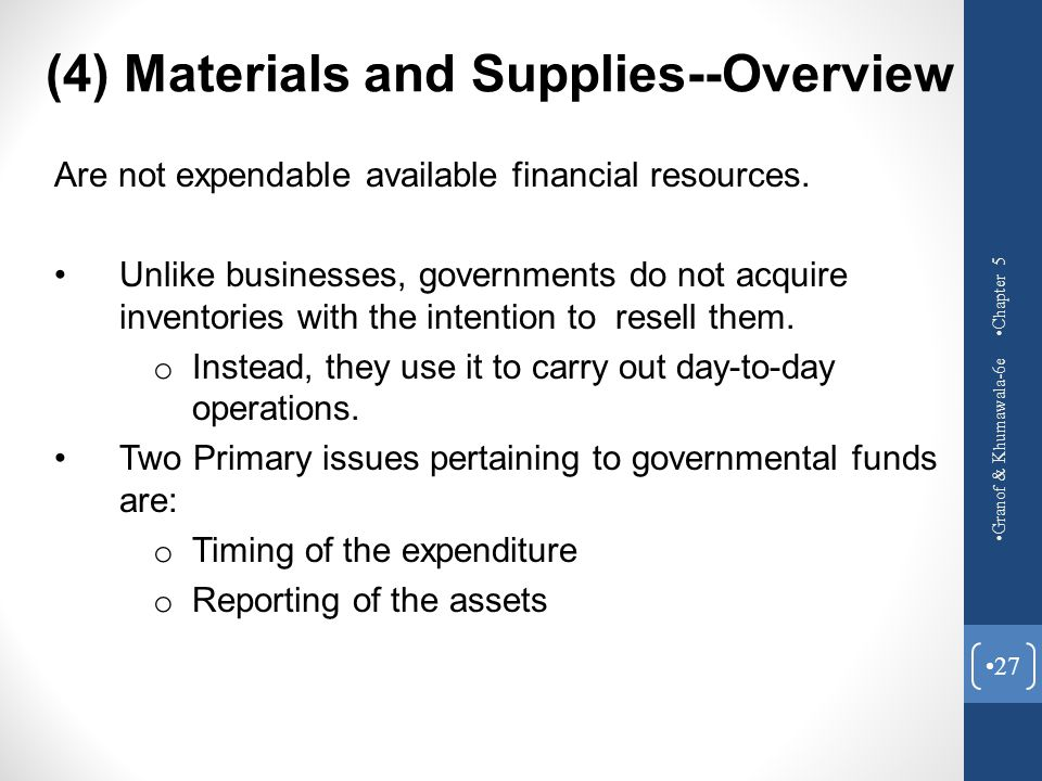 (4) Materials and Supplies--Overview