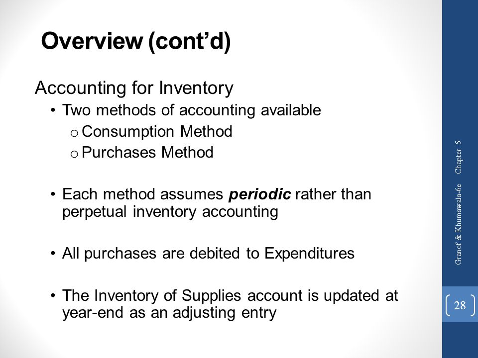 Overview (cont'd) Accounting for Inventory
