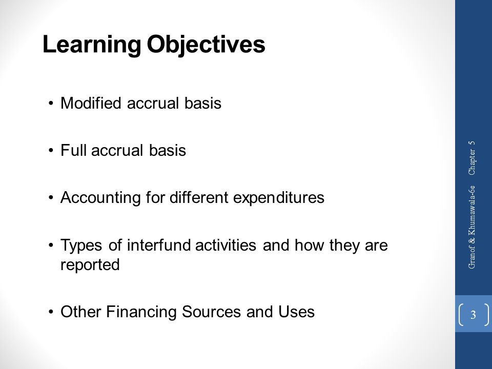 Learning Objectives Modified accrual basis Full accrual basis