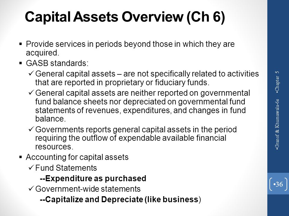Capital Assets Overview (Ch 6)
