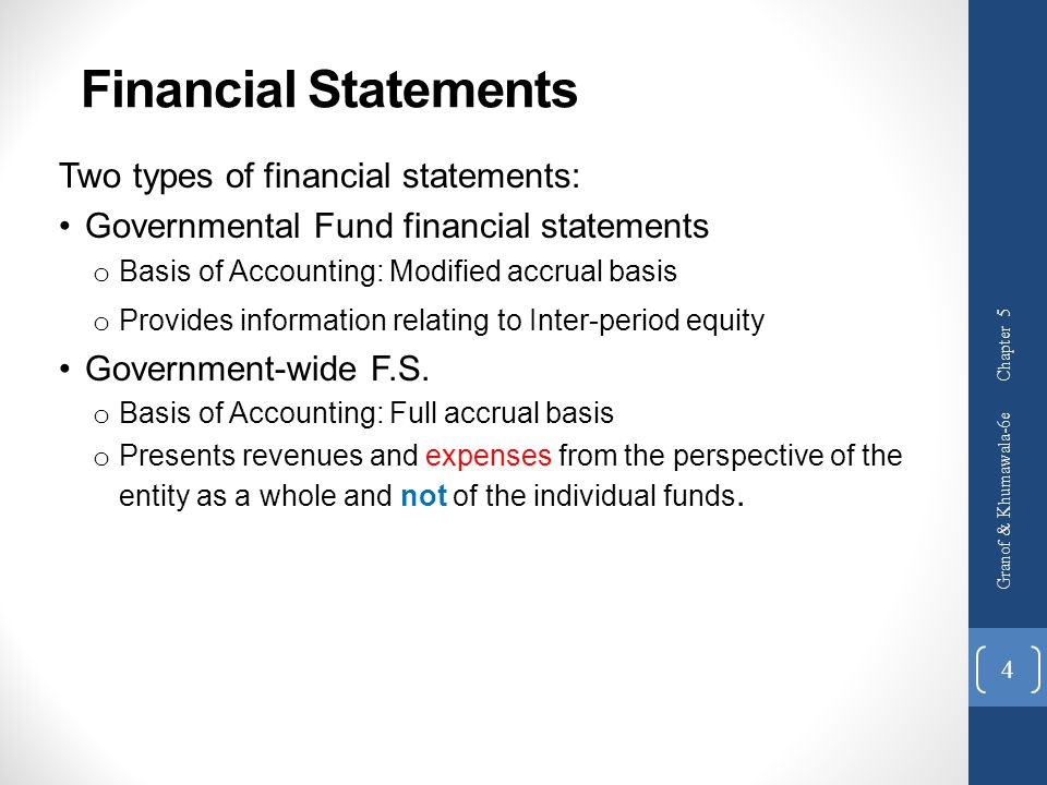 Financial Statements Two types of financial statements: