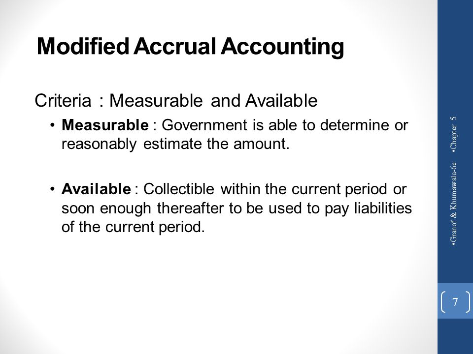Modified Accrual Accounting