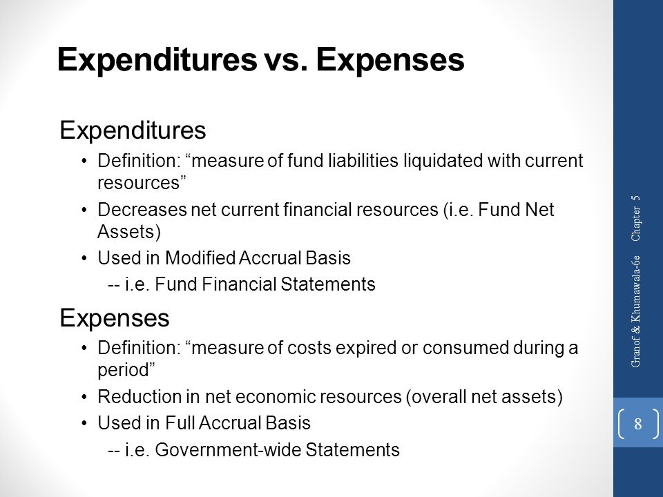 Expenditures vs. Expenses