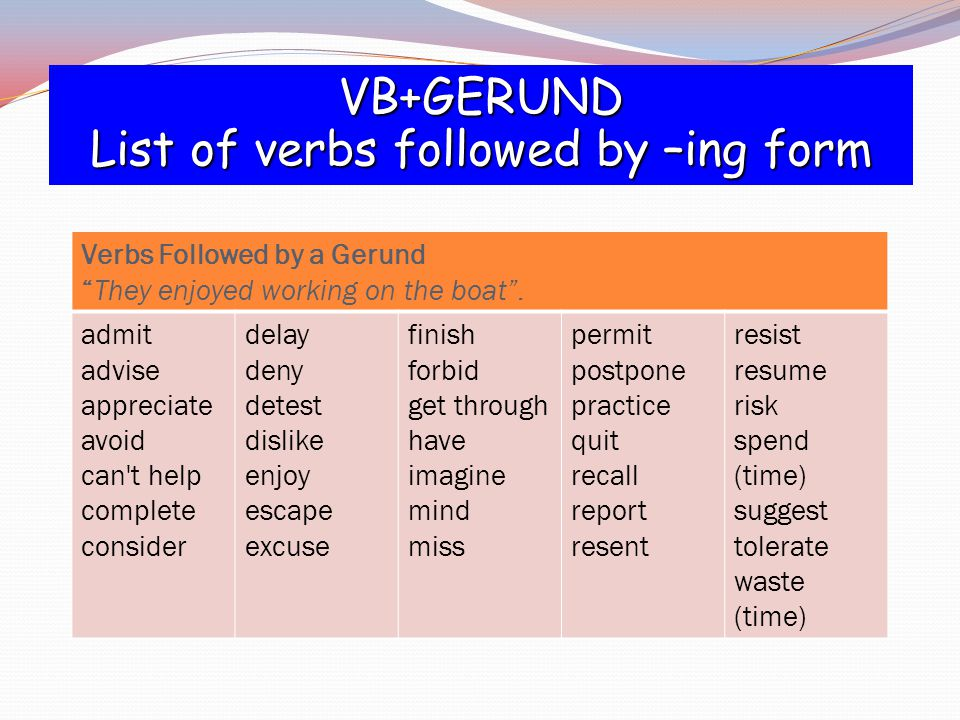 List of verbs followed by –ing form
