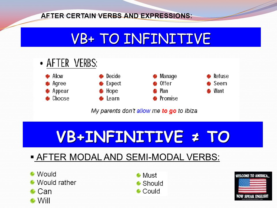 VB+INFINITIVE ≠ TO VB+ TO INFINITIVE AFTER MODAL AND SEMI-MODAL VERBS: