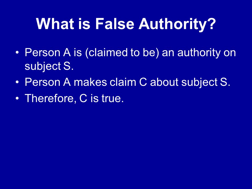 What is False Authority