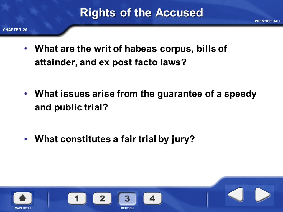 Rights of the Accused What are the writ of habeas corpus, bills of attainder, and ex post facto laws