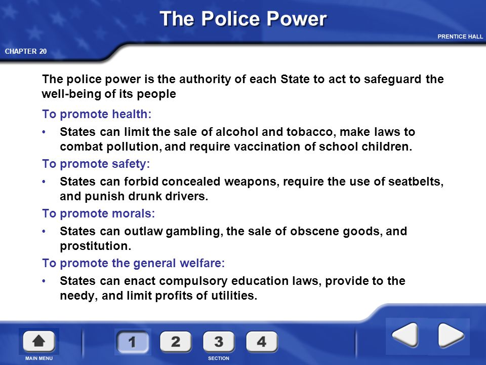 The Police Power The police power is the authority of each State to act to safeguard the well-being of its people.