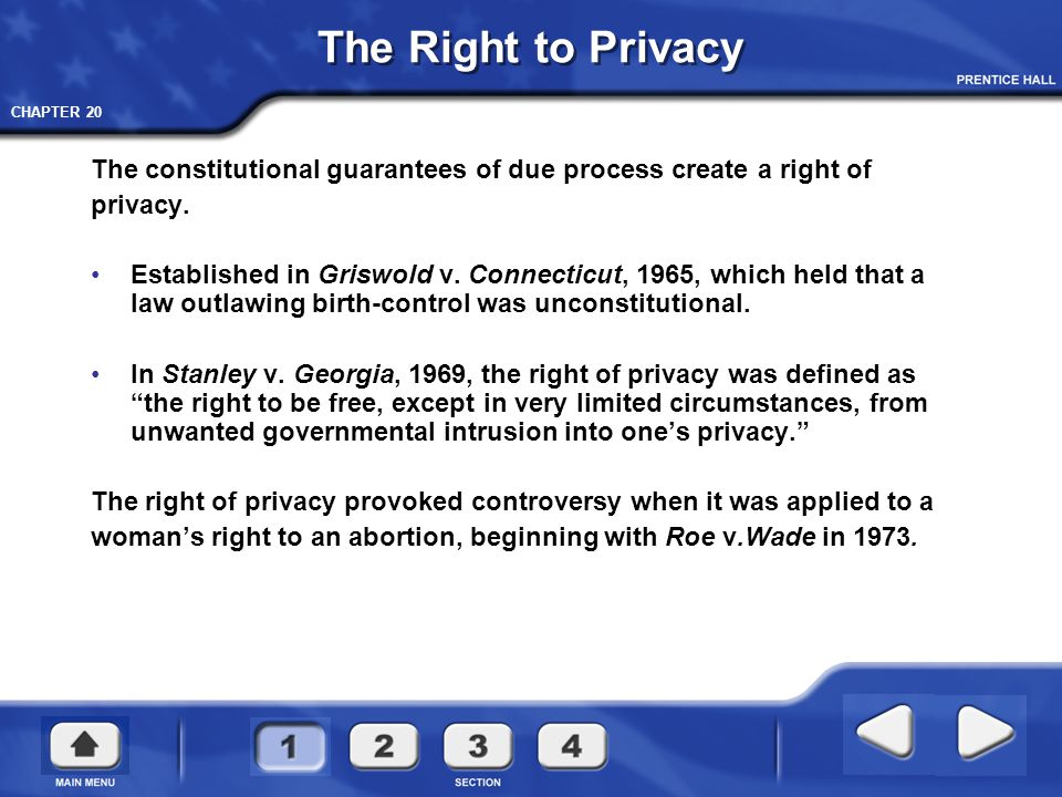 The Right to Privacy The constitutional guarantees of due process create a right of. privacy.