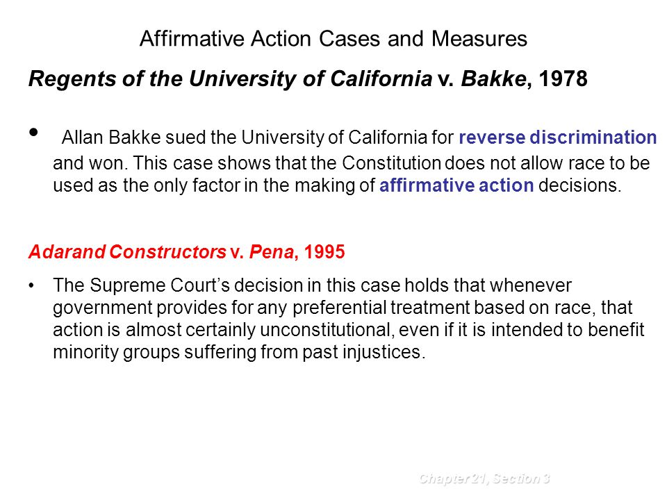 Affirmative Action Cases and Measures