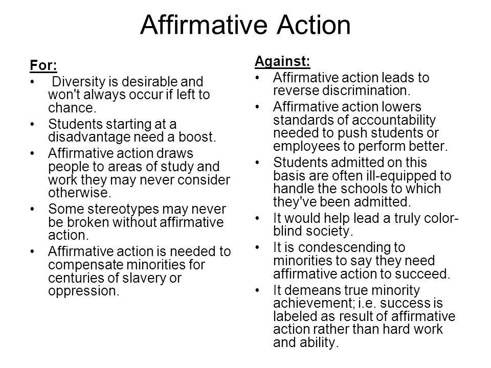 Affirmative Action Against: For: